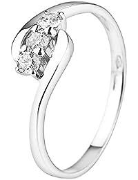 And You - & You - Bague d'éternité à trois pierres Femme - 9 Carats(375) Or blanc Diamant Ronde Taille