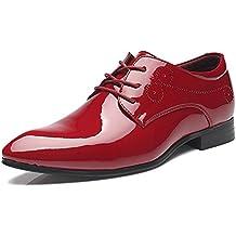 Sunny&Baby Zapatos de Cuero Lisos de la PU Para Hombre Zapatos Clásicos de Encaje a la