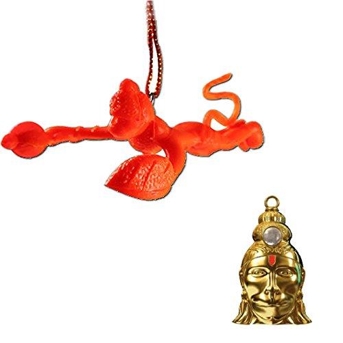 Divya Mantra Combo Of Orange Flying Hanuman Car Mirror Hanging and Shri Hanuman Chalisa Kavach Yantra Locket  available at amazon for Rs.899