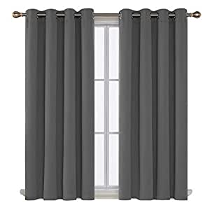 Deconovo Super Soft Thermal Insulated Window Treatment Bedroom Curtains Blackout Eyelet Blackout Curtains for Livingroom with Two Matching Tie Backs 46 x 54 Drop Inch Light Grey 2 Panels