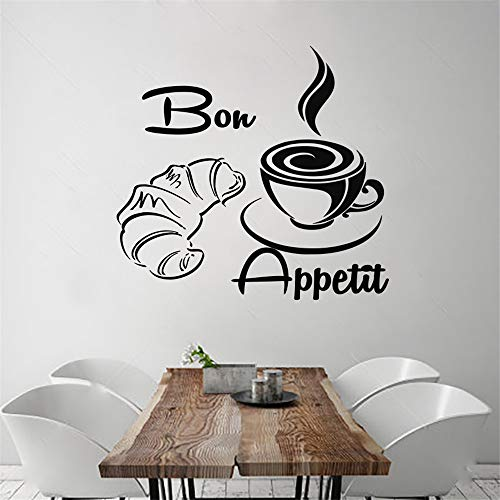 wlwhaoo Neue Ankunft Kaffee Croissant Wandtattoos Französisch Bon Appetit Vinyl Removable Home Decor Wandaufkleber schwarz 45x43 cm - Nyc Kaffee