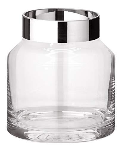EDZARD Vase Gabi, mundgeblasenes Kristallglas mit Platinrand, Höhe 19 cm, Durchmesser 17 cm Platin Vase