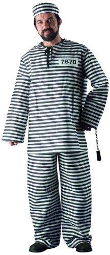 üm Sträfling, Hose, Shirt und Kappe, Gröߟe XL (Schnelle Halloween-kostüm Mann)