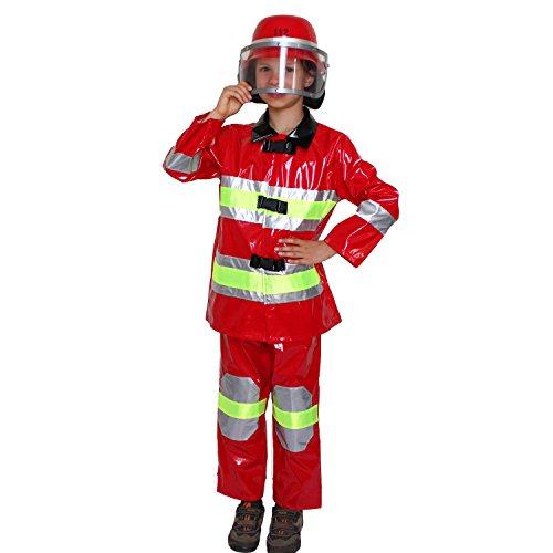Krause & Sohn Kinderkostüm Feuerwehrmann Florian Gr. 104 rot wasserfest Uniform Beruf Fasching