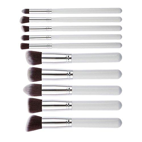 Set de 10pcs Pinceaux de Maquillage pour Fond de Teint Fard à Paupières Eye-liner - Blanc et Argenté