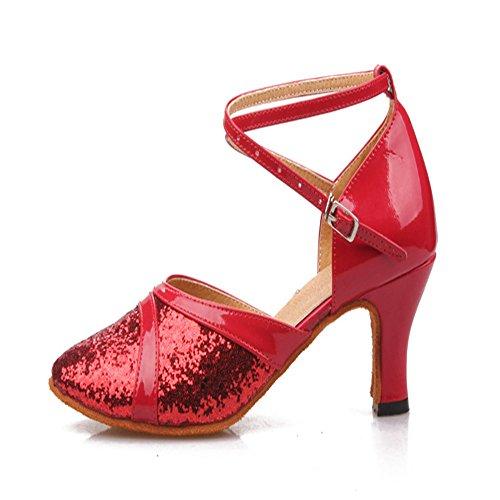 TMKOO& 2017 nuovi femminili scarpe da ballo latino donne paillettes di pelle quadrato vuoto scarpe di gomma di luce laser Rosso