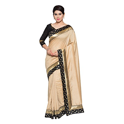 Oomph! Women's Art Silk Saree with Blouse Piece (rbpt_Oatmeal Beige_Free Size)
