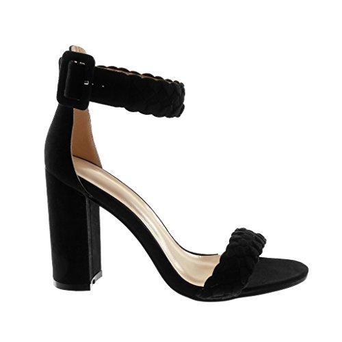 072ca6ddff3e ... Angkorly Chaussures Mode Sandales Chaussures Décolleté Avec Lanière De  Cheville Femme Tressé Lanière Boucle Bloc Haut ...