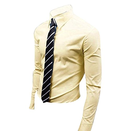 Jeansian Uomo Camicie Maniche Lunghe Moda Men Shirts Slim Fit Casual Long Sleves Fashion 8504 Yellow