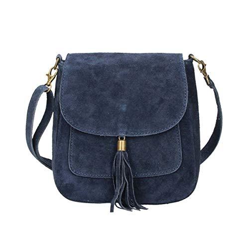 Made in Italy Damen Leder Tasche Messenger Bag Henkeltasche Wildleder Handtasche Umhängetasche...