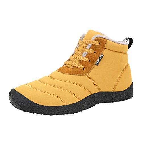 Longra Fashion Lovers Style Winter Artificial Leather Materiale superiore peluche Casual impermeabile High-top Sneakers Shorts Stivali Giallo