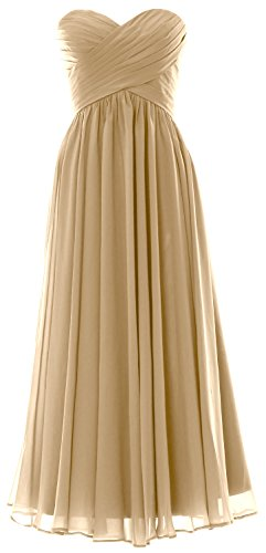 MACloth Women Long Bridesmaid Dress Strapless Chiffon Prom Party Formal Gown Champagner
