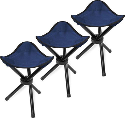 Mini Anglerstuhl Faltstuhl Falthocker Dreibeinhocker in Rot, Oliv oder Blau - super Klapphocker für den Rucksack Farbe Blau / 3 Stück