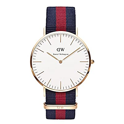 Daniel Wellington Oxford Rose Men's Quartz Watch with White Dial Analogue Display and Multicolour Nylon Strap 0101DW