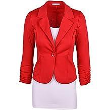 Moollyfox Casual De La Mujer De Un Solo Pecho Blázer Abrigo L Rojo