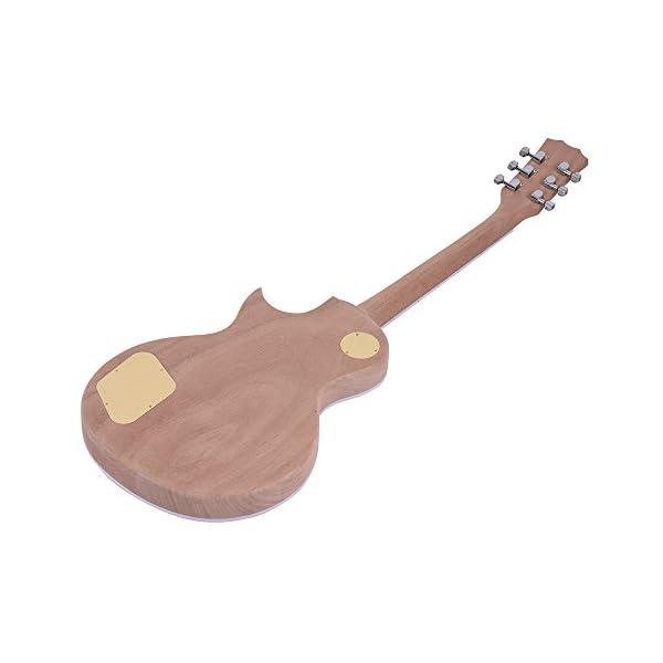 ammoon =Chitarra Elettrica Stile LP Incompiuta Kit fai da Te Corpo in Mogano e Collo Rosa Tastiera in Legno