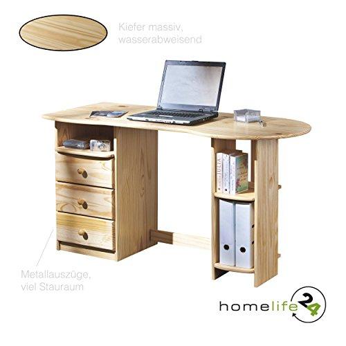 Schöner eleganter Schreibtisch Computertisch Büromöbel PC Tisch Bürotisch Arbeitstisch Kiefer massiv farblos mit 3 Schubladen und Ablagefächer