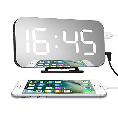 Charminer Digitaler Wecker,analog Uhr lautlos Tischuhr mit USB-Ladeanschluss Große Zahlen und LED-Anzeige Reiseweker mit Dimmer 12/24-Stunden Datensicherung am Stromausfall quadrat
