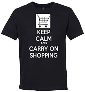 Phunky Buddha - Keep Calm And Carry On Shopping Men's Gift Funny T-Shirt - S - Black