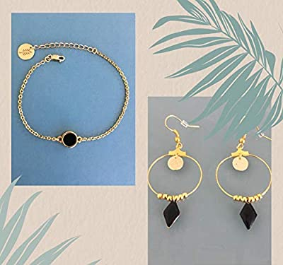 Parure bracelet et créoles en acier inoxydable doré, parure bijoux, boucles d'oreilles, créoles, bracelet, cadeau Femme, bijoux cadeaux