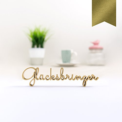 KLEINLAUT 3D-Schriftzug Glücksbringer in Größe: 10 x 2,5 cm - Dekobuchstaben - 32 Farben zur Wahl - Gold