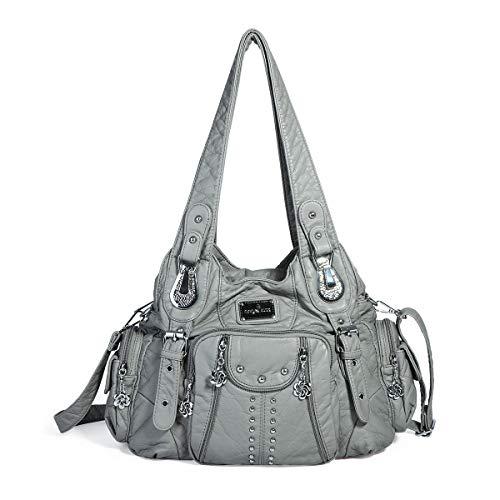 angel kiss Hobo Tasche Schultertaschen Handtaschen Umhängetaschen Henkeltaschen Fredsbruder Taschen Damen Weiches Leder (Grau) -