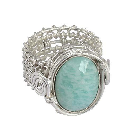 Silvestoo india anello in argento sterling 925 con pietra di amazzonite, misura 8,5 pg-156207