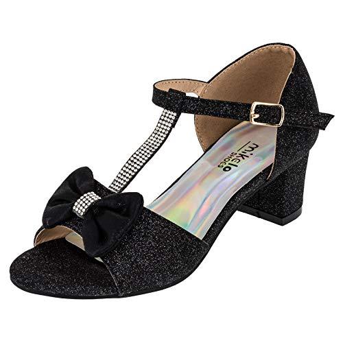 Eleganti Scarpe da Ragazza con Tacco e Cinturino Effetto Glitter, Nero (M568sw Schwarz), 32 EU