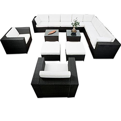 XXXL Rattan Lounge Set erweiterbar - Lounge Eckset XXXL Polyrattan schwarz - Gartenmöbel Sitzgruppe Lounge Möbel Set Garnitur - Gartenlounge Set inkl. Lounge Ecke + Sessel + Hocker + Tisch + Kissen