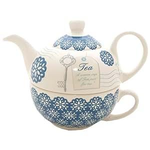 Price & Kensington Théière/tasse à thé en céramique pour une personne Bleu