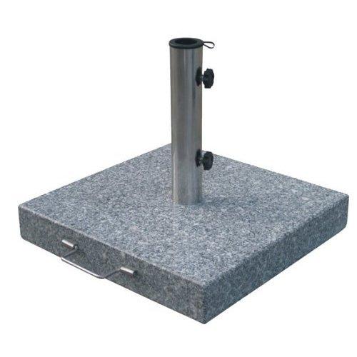 Spetebo Sonnenschirmständer aus Granit - eckig - Gewicht 30 kg - Schirmständer mit Rollen und Feststellschrauben