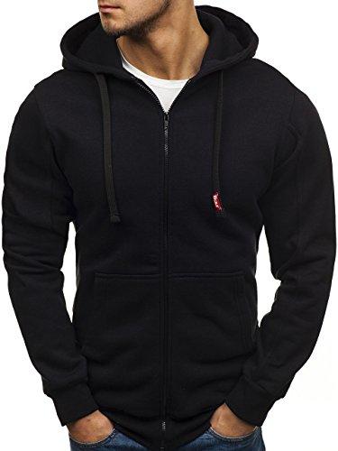 BOLF Herren Kapuzenpullover Sweatshirt mit Reißverschluss Hoodie Casual Style BOLF 26S Anthrazit 6XL [1A1]