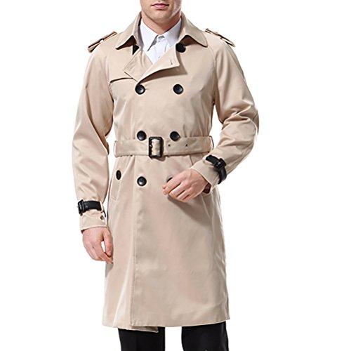 AOWOFS Herren Trenchcoat Lang Zweireihiger Slim Fit Mantel im Militärischen Stil Trench Coat mit Gürtel Frühling