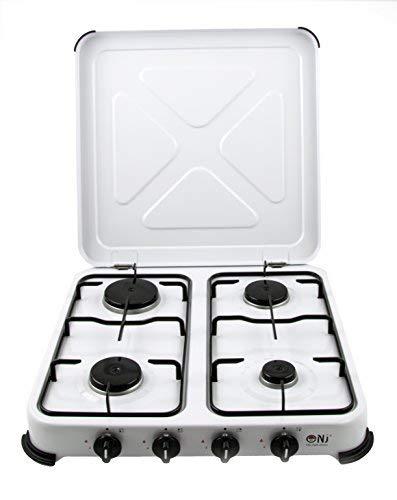 Réchaud de cuisinière à gaz 4 feux pour cuisinière portable Couvercle en émail blanc GPL extérieur 5.45kW