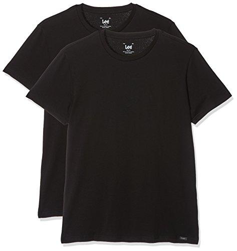 Lee Herren T-Shirt Twin Pack Crew, 2, Schwarz (Black AI01), Small (Crew T-shirt Lee)