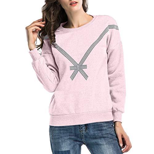 Heetey Damen Kapuzenpullover Bluse, Frauen beiläufige gedruckte Bogen-Lange Hülse Loses Pullover-Sweatshirt übersteigt Bluse Sweatshirt Pullover Bluse Oberteile Tops T Shirt Lässig Pullover -