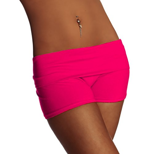 Damen Fitness YOGA Shorts Hot Pants Sportshorts Laufhose Radlerhose Baumwolle Uni Farben - Made in Italy (S, Pink) (Hot-yoga-pants)