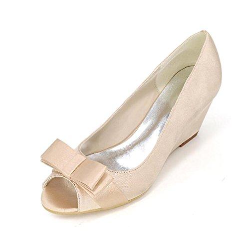 Ei&iLI Chaussures de mariage en soie Women 's Ouvrir Toe Shoes Papillon Accents Wedge Robes de demoiselles d'honneur EU36-EU43 red