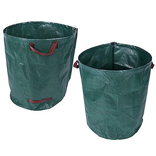 Katech 2 pièces de sacs de jardin en plein air Sac à ordures pour déchets avec grande capacité (272 L) Sac de rangement de jardin réutilisable avec poignée pour le nettoyage des feuilles et de l'herbe
