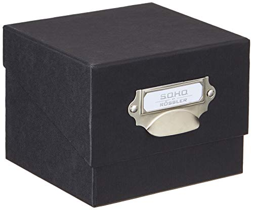 RÃssler SOHO 165mm x 150mm A4 Photo Box with Handle and Index Holder - Black