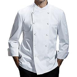 Chaqueta de chef para hombre de algodón transpirable uniforme de cocina Ropa de trabajo CFM0028 (blanco, 3XL)