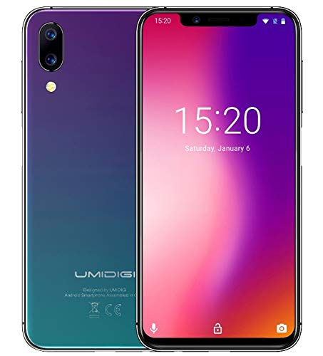 "UMIDIGI ONE PRO Versione globale - 5.9 ""fullsurface Notch screen (rapporto 19: 9) smartphone, design Super snello, Android 8.1, P23 Octa Core 2.0GHz 4 GB + 64 GB. Supporta ricarica senza fili, fotocamera tripla (16MP + 5MP + 12MP) NFC - Crepuscolare a gradiente"