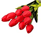 Ularma 10pcs tulipe artificielle fleur Latex Real Touch Bridal Wedding Bouquet Home Decor (rouge)