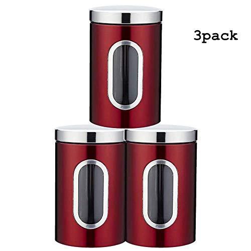 Lebensmittelbehälter Edelstahl Küche Luftdichte Behälter mit Transparenten Fenstern Langlebig Rostfrei Kreative Dichtung Werkzeug 3 stücke Für Kaffeebohnen Tee,Red -