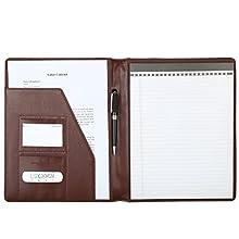 Leathario A4 Ultra-feine Faser Schreibmappe Portfolio Dokumenten-Mappe Konferenzmappe A4, inkl. Schreibblock, Braun
