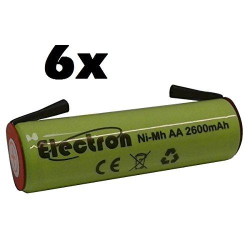 6x Batteria ricaricabile Ni-Mh Stilo AA 1,2V 2600mAh con linguette lamelle terminali a saldare per pacco pacchi batteria