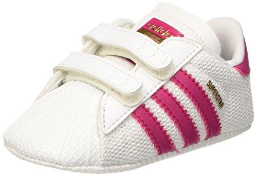 adidas Mädchen Superstar Crib Krabbelschuhe Mehrfarbig (Ftwwht/Bopink/Ftwwht)