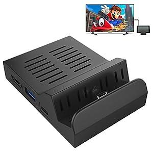 MoKo Nintendo Switch Tragbar Dock, Wärmeableitung Eingebauter Chip Ladestation Charging Ersatz Dockstation mit 3 integrierten USB-Ports & HDMI & Typ C Adapter für Nintendo Joy-Con, Schwarz