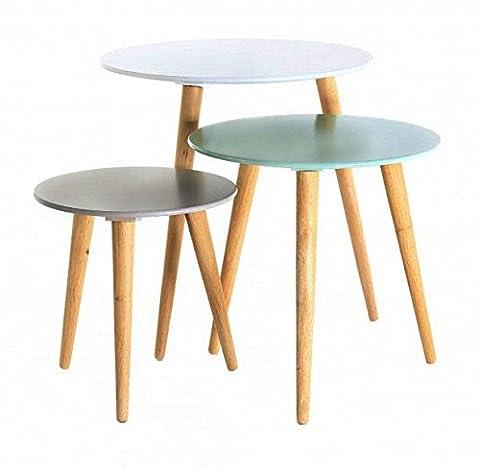 Bois Demi Rond - Inwood - 3x Table gigogne ronde en
