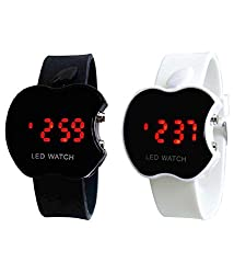 Aaradhya Fashion Digital LED Black & White Dial Apple Shape Kids Watch Combo